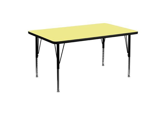 Flash Furniture 30''W x 48''L Rectangular Activity Table with Yellow Thermal Fused Laminate Top and Height Adjustable Short Legs