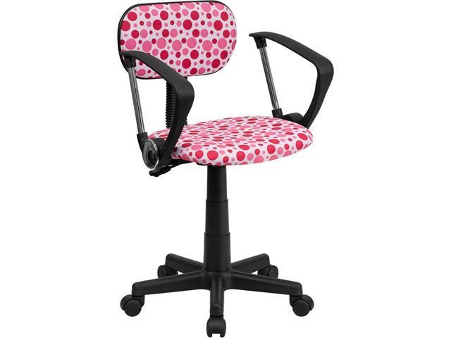 Flash Furniture Pink Dot Printed Computer Chair with Arms