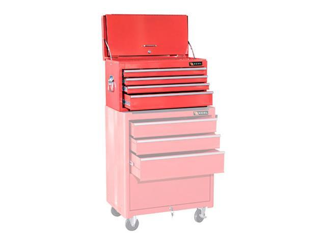 Excel Hardware 4drawer Multipurpose Portable Metal Toolbox Chest With Tray Red