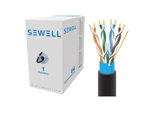 Sewell PureRun Cat5e Bulk Pure Copper 1000 ft STP (Foil) UV Protect (CMX) 24 AWG Black