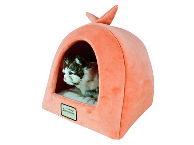 Armarkat Plush and Soft Velvet With Waterproof Cat Sleeper Bed in Orange and Ivory