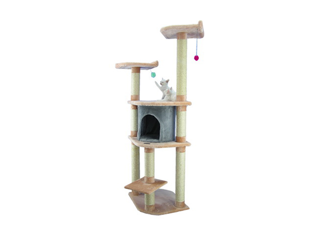 Armarkat A6401 64-Inch Wooden Step Cat Tower Tree Condo Scratcher Kitten House in Blanched Almond W/ Silver Grey Condo