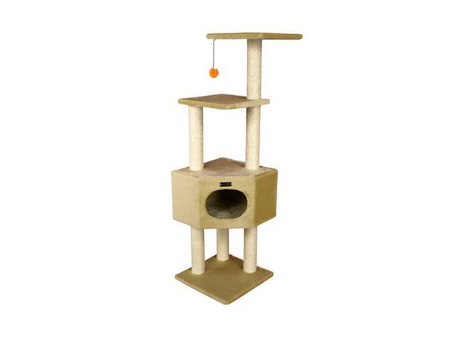 Armarkat 52 inch wooden step cat tower tree condo for Cat tree steps
