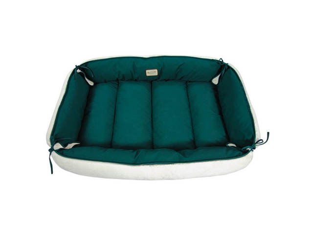Armarkat Indoor Canvas and Soft Plush Pet Dog Warm Cushion Sleeper Bed XL Laurel Green And Ivory