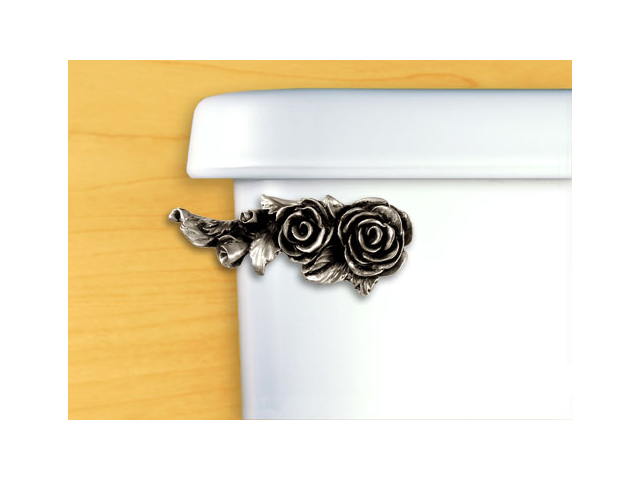 FunctionalFineArt Satin Pewter Roses Toilet Handle - Angled Tank Mount