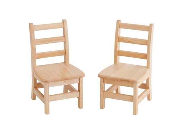 Ecr4kids 10 inch 3 - Rung Hardwood Armless Classroom Ladderback Pack Kids Chair 2 Pack - Assembled