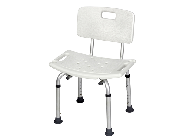 Revolution Mobility Padded Shower or Tub Bench with Back and Adjustable Legs - White