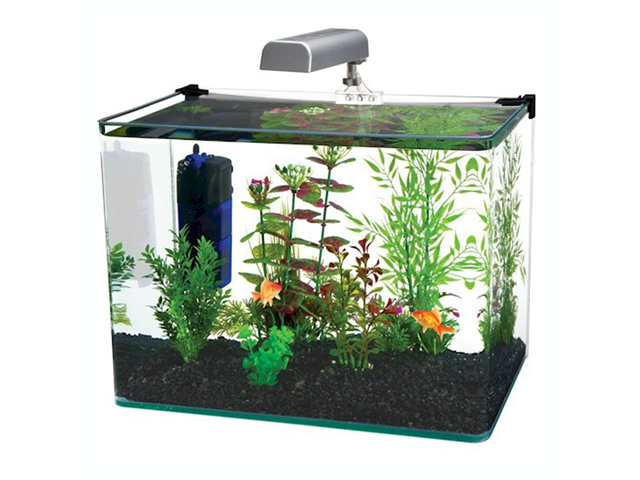 Radius 5 Gallon Glass Aquarium Kit Includes Led Light, Internal Filter