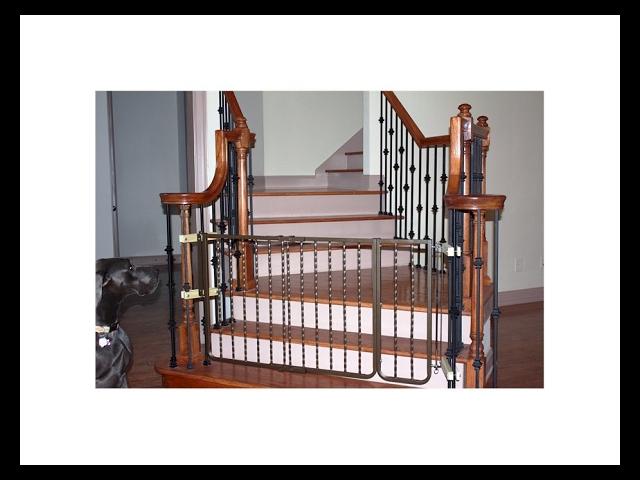 Cardinal Wrought Iron Decor Dog Gate - Bronze / Steel Construction - Latch System
