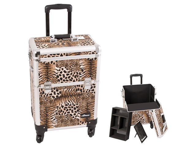 Sunrise Brown Interchangable 4-Wheels Leopard Textured professional Rolling Aluminum Cosmetic Makeup Case Organizer With Removable Tray And Dividers