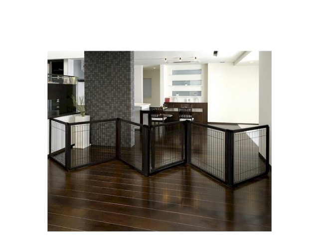 Richell Convertible Elite Pet Gate 6 Panel Black 197.5