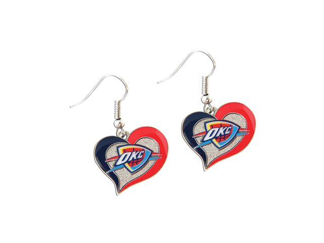 NBA Oklahoma City Thunder Swirl Heart Shape Dangle Logo Earring Set Charm Gift