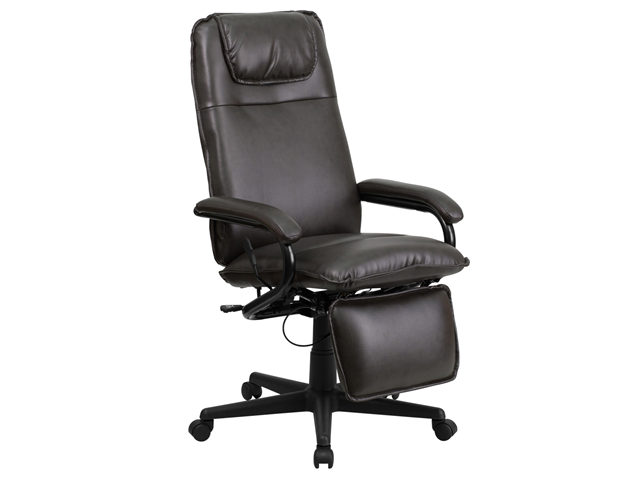 Flash Furniture High Back Brown Leather Executive Reclining Office Chair BT