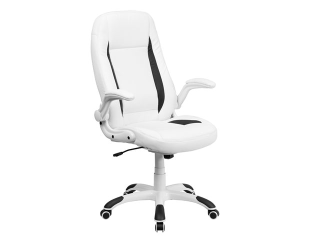 Flash Furniture High Back White Leather Executive Office Chair With Flip-Up Arms [CH-CX0176H06-WH-GG]