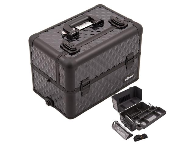All Black Interchangeable Easy Slide & Extendable Tray Diamond Pattern Pro Aluminum Makeup Case Organizer / Dividers, Brush Holder & Clear Bag