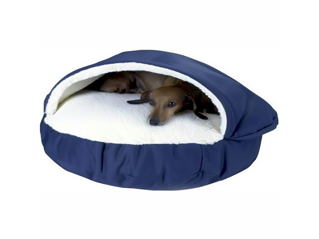 Snoozer Pet Dog Cat Puppy Indoor Comfortable Orthopedic Cozy Raised Hood Soft Cave Beds Small Navy;