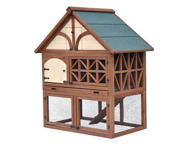 Stilt House Tudor Rabbit Hutch With Large Removable Tray Two Bottom Doors