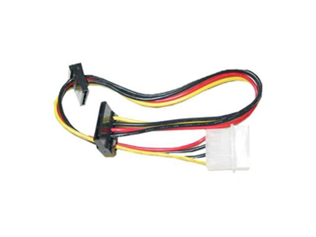 Cable Wholesale Molex to Dual SATA Power Cable, 4 Pin Molex Male to Dual Serial ATA Female, 14 inch