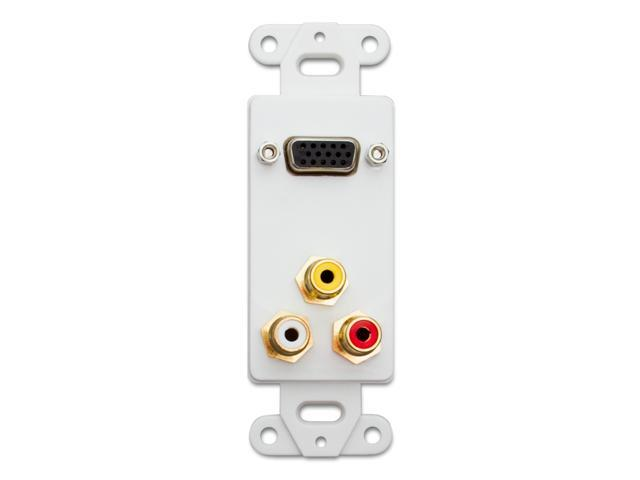 Decora Wall Plate Insert, White, 1 VGA Coupler and 3 RCA Couplers (Red / White / Yellow), HD15 Female and RCA Female