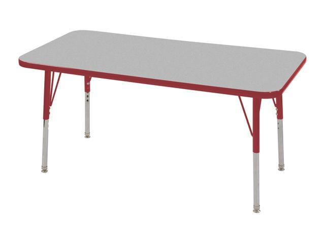 "ECR4Kids 24"" x 48"" Adjustable Rectangular Activity Table, Grey/Red - Standard Leg, Swivel Glide"