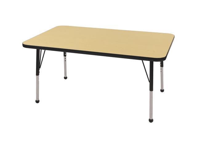 "ECR4Kids 30"" x 48"" Adjustable Rectangular Activity Table, Maple/Black - Chunky"