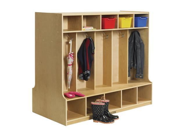 10 Section Double Sided Coat Locker w/ Bench
