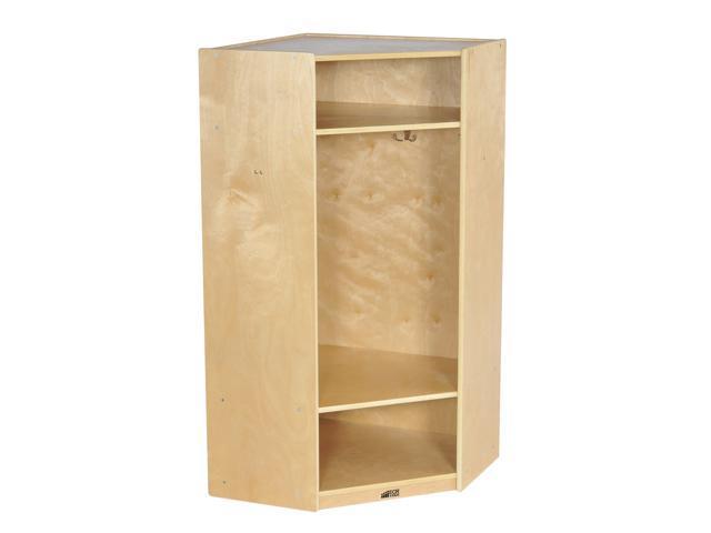 ECR4kids Birch 2-Section Corner Coat Locker, Natural