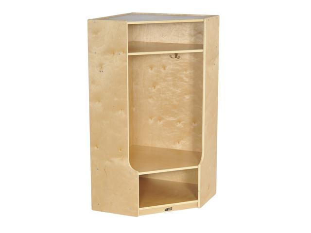ECR4kids Birch 2-Section Corner Coat Locker With Bench, Natural