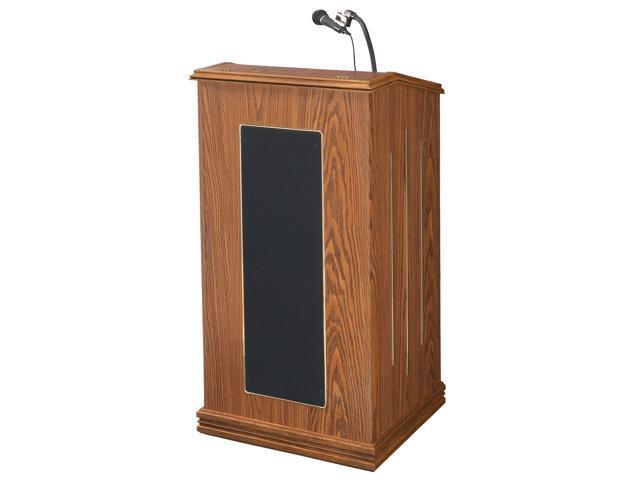 Oklahoma Sound Wooden Multipurpose Presentation The Prestige Sound Floor Lectern With Mic Medium Oak