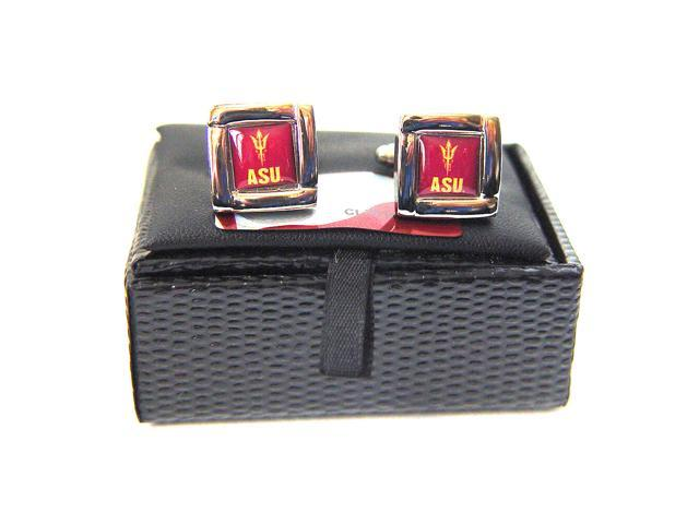 NCAA ASU Arizona State Sun Devils Cufflinks With Square Shape Engraved Logo Design Gift Box Set