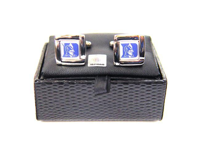 NCAA DukeBlueDevils Square Cufflinks With Square Shape Engraved Logo Design Gift Box Set