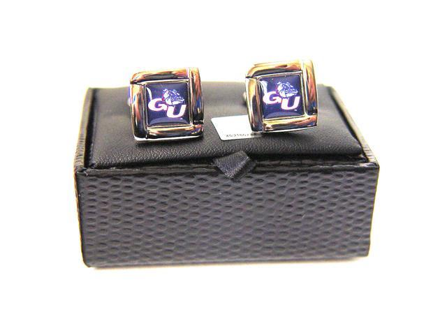NCAA Gonzaga Zags Bulldogs Square Cufflinks With Square Shape Engraved Logo Design Gift Box Set
