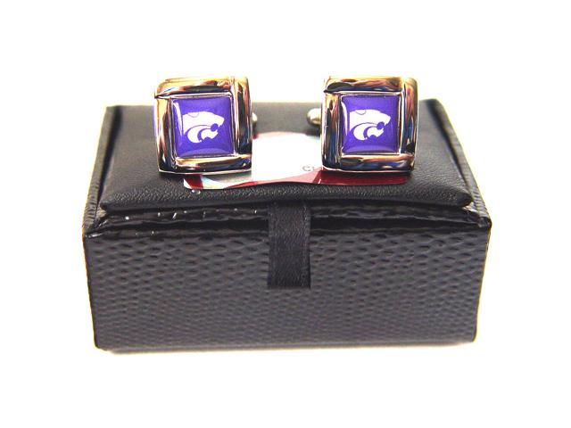 NCAA Kansas StateWildcats Square Cufflinks With Square Shape Engraved Logo Design Gift Box Set