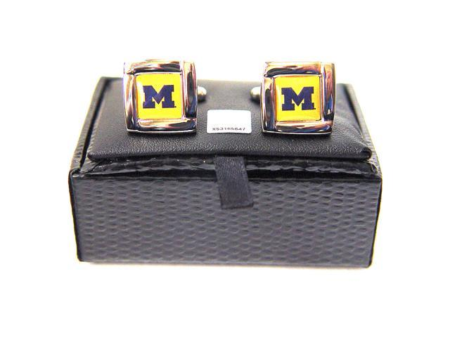 NCAA Michigan Wolverines Square Cufflinks With Square Shape Engraved Logo Design Gift Box Set