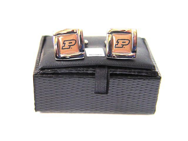NCAA Purdue Boilermakers Square Cufflinks With Square Shape Engraved Logo Design Gift Box Set
