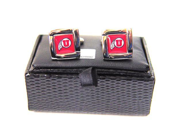NCAA Utah Utes Square Cufflinks With Square Shape Engraved Logo Design Gift Box Set