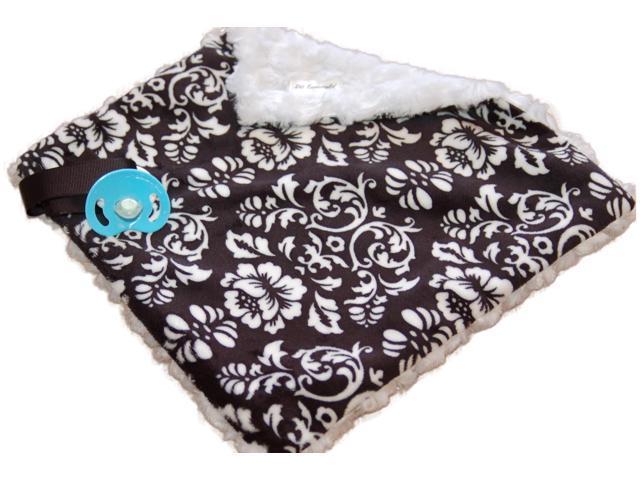 Bb Emerald Indoor Outdoor Travel Comfort Safety Newborn Infant Child Soft Baby Black Damask Minky Pacifier Blanket