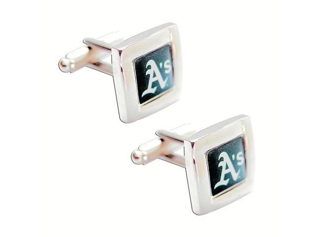 MLB Oakland A's Athletics Square Cufflinks With Square Shape engraved Logo design Gift Box Set