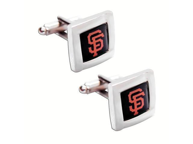 MLB SF San Francisco Giants Square Cufflinks With Square Shape engraved Logo design Gift Box Set