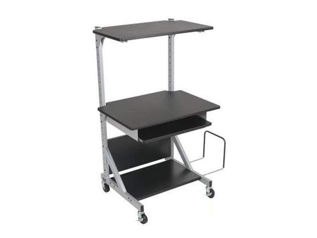 Totally Adjustable Mobile Sit-Stand Workstation 30 x 24 x 52 Black/Silver