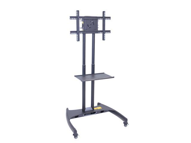 Offex Mobile Height Adjustable Floor Flat Plasma Panel LED LCD Television Stand With Shelf No Camera Mount Gray