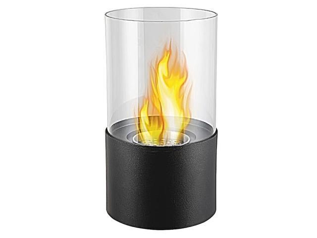 Moda Flame Decorative Lit Table Top Smokeless Stainless Steel Firepit Bio-Ethanol Fuel Ventless Fireplace Dual Layer Burner Black