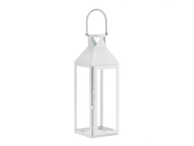 Koehler Outdoor Garden Patio White Manhatten Candle Lantern
