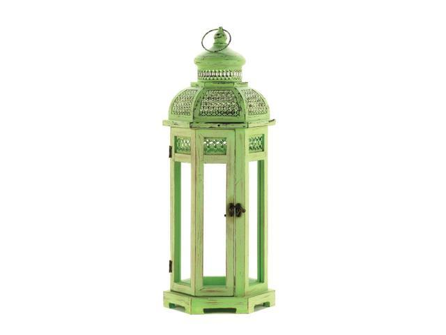Home Indoor Outdoor Lawn Patio Yard Porch Decorative Christmas Holiday Occasion Season Wedding Dinner Hanging Loop Tall Green Tower Burning Candle Light Lamp Holder Lantern Green