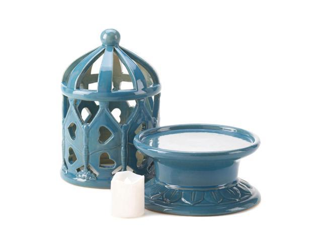 Koehler Home Lawn Patio Blue Lantern With LED Candle