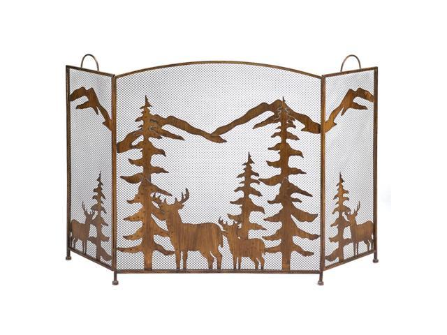 Rustic Mandle Tree Mountain Forest Design Folding Fireplace Screen Indoor Safety Decorative Christmas Gift