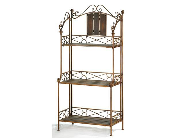 Home Decor Kitchen Rustic Metal Scrollwork and Wood 3 Shelf Baker's Rack Storage Shelving Cabinet Stand