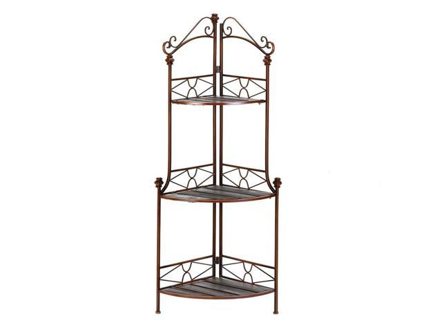 Home Decor Kitchen Rustic Corner Scrollwork and Wood 3 Shelf Baker's Rack Storage Shelving Cabinet Stand