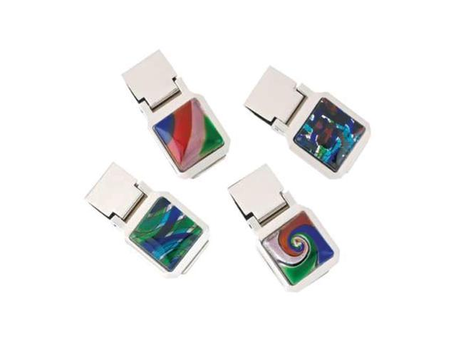 Koehler Home Indoor Outdoor Decorative Christmas Gift Decor Modern Art Glass Design Money Clips 4 Pack