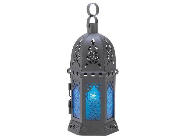 Koehler Home Decor Decorative Wedding Seasonal Table Display Ocean Blue Lantern Candle Holder Stand